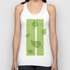 Scattered Green Leaves Unisex Tank Top