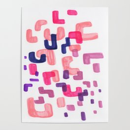 Mid Century Modern Abstract Organic Pattern Shapes Colorful Pastel Pink Purple Poster