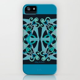 Support Love Mandala x 2 - Teal/Black iPhone Case