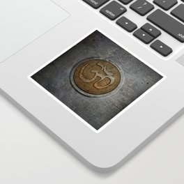 The sound of the Universe. Gold Ohm Sign On Stone Sticker