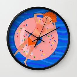 Summer swimming in the pool Wall Clock