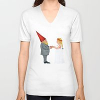 gnome V-neck T-shirts featuring Gnome Wedding by MatthewIsles