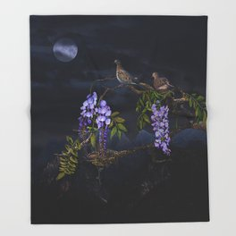 Doves In Moonlight Throw Blanket