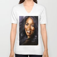 queen V-neck T-shirts featuring Queen by Lily Fitch