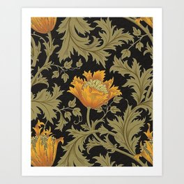 William Morris Yellow Flowers and Laurel Floral Textile Pattern Art Print