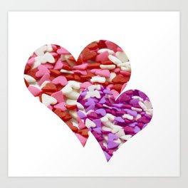 Two Candy Hearts - Pink, Red and Purple Valentine's Day Love Art Print