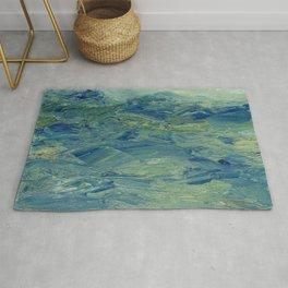 Abstract Blue Green Waves of Aqua Ocean Blue Mountains Rug