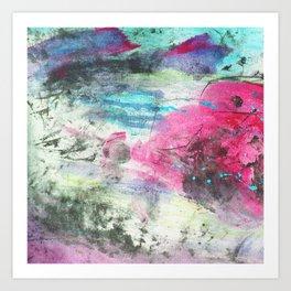 Grunge magenta teal hand painted watercolor Art Print