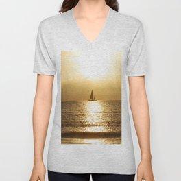Golden Sunset Sail Unisex V-Neck