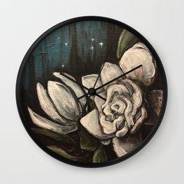 Night Bloom // Gardenia White Flower Stars Magnolia Abstract Painting Southern Garden Tree Plants Wall Clock