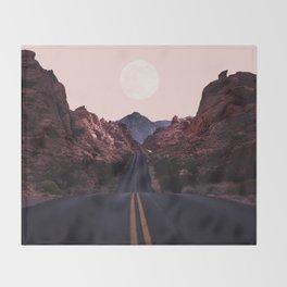 Road Red Moonrise Throw Blanket