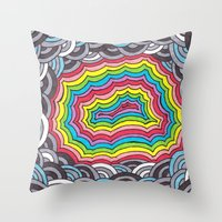 geode Throw Pillows featuring Rainbow Geode by Audrey Pixel Designs