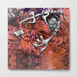 Gone Fishing Orange Royal Stain Metal Print