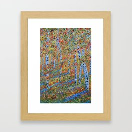 Aspen Trees, Birch Trees, Abstract Art, Landscape Painting Framed Art Print