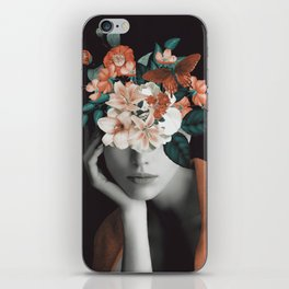 WOMAN WITH FLOWERS 7 iPhone Skin