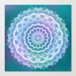 White Mandala on Teal, Purple and Navy Canvas Print