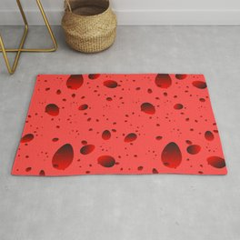 Large red drops and petals on a light background in nacre. Rug