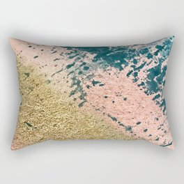 River: a minimal, abstract mixed-media piece in pink, teal and gold Rectangular Pillow