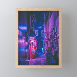 The Neon Alleyway Ghost Framed Mini Art Print