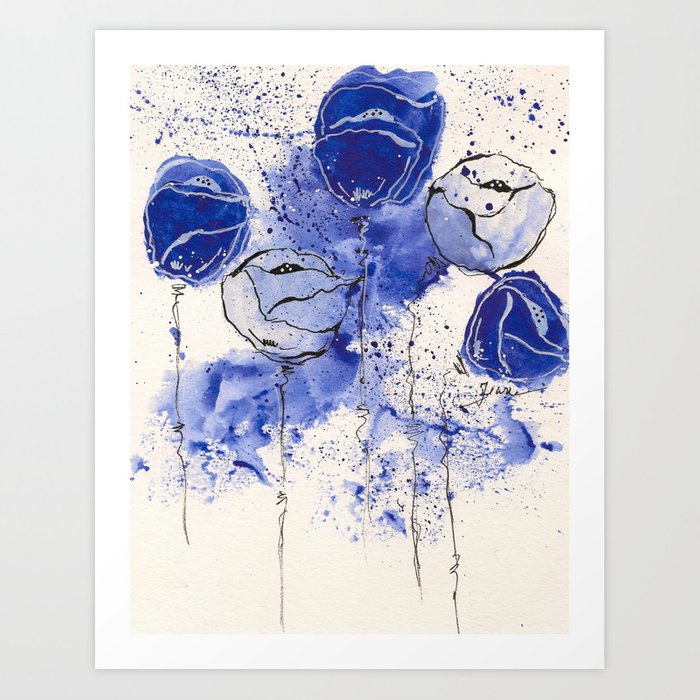 Blue and White Splotch Flowers Art Print