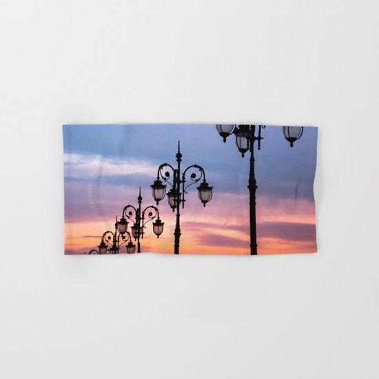 city lights in the evening sky Hand & Bath Towel