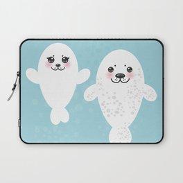 set Funny white fur seal pups, cute winking seals with pink cheeks and big eyes. Kawaii animal Laptop Sleeve