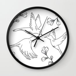 Little Birds With Leaves Pattern  Wall Clock