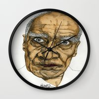 allyson johnson Wall Clocks featuring Wilko Johnson by Paul Nelson-Esch Art