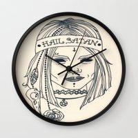 satan Wall Clocks featuring Hail Satan! by Swimming Bell