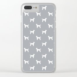 Poodle silhouette grey and white minimal modern dog art pet portrait dog breeds Clear iPhone Case