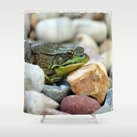 frog Shower Curtains featuring Frog by C Flynn