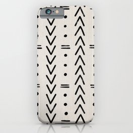Mudcloth Black Geometric Shapes in White  iPhone Case