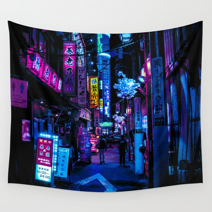 Tokyo's Blade Runner Vibes Wall Tapestry