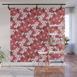 Sakura on red background Wall Mural