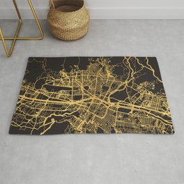 MEDELLIN COLOMBIA GOLD ON BLACK CITY MAP Rug