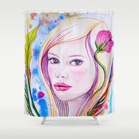 blondie Shower Curtains featuring Blondie by Yvonne Póo