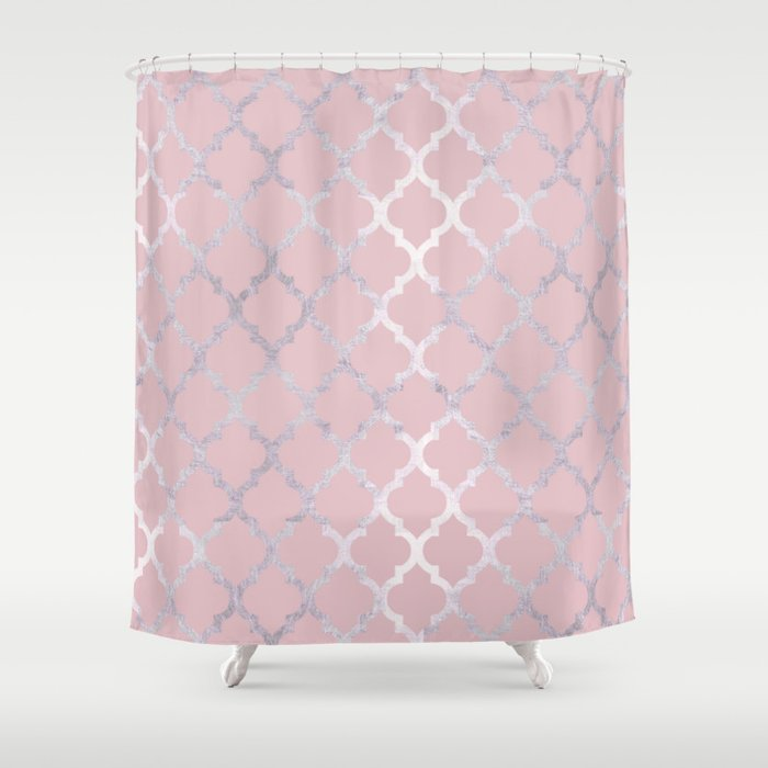 Moroccan Silver Pink Shower Curtain
