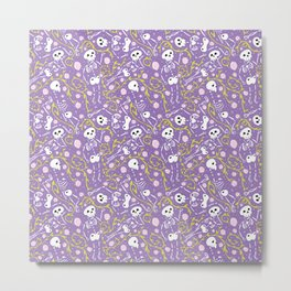 Skeletons in Spring - purple mountains - white  Metal Print