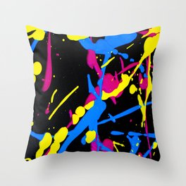 Acrylic Eighties Grafitti Splats and Splashed Neon Throw Pillow