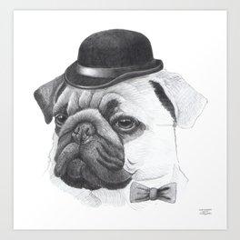 Pug with bowler Art Print