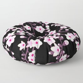 Cherry Blossoms Pink Black Floor Pillow