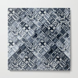 Simply Tribal Tiles in Indigo Blue on Lunar Gray Metal Print