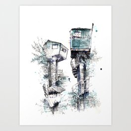 Treehouses Art Print