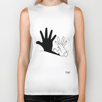 cartoon Biker Tanks featuring Rabbit Hand Shadow by Mobii
