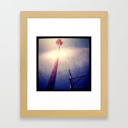 Nature vs. Civilization: Palm Tree and Power Lines Framed Art Print