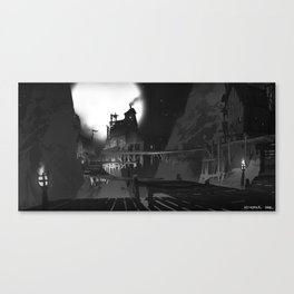 Moonlit Stilt Houses Canvas Print