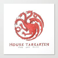 game of thrones Canvas Prints featuring House Targaryen- Game of Thrones by 366Sketchbook