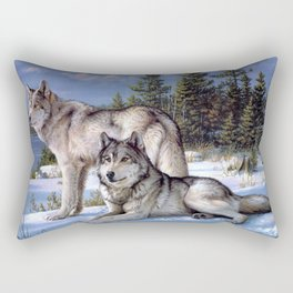 Two wolves in winter Siberian Rectangular Pillow