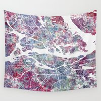 stockholm Wall Tapestries featuring STOCKHOLM #2 by MapMapMaps.Watercolors