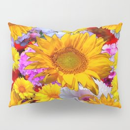 YELLOW FLOWERS FLORAL RED  ART PATTERN Pillow Sham